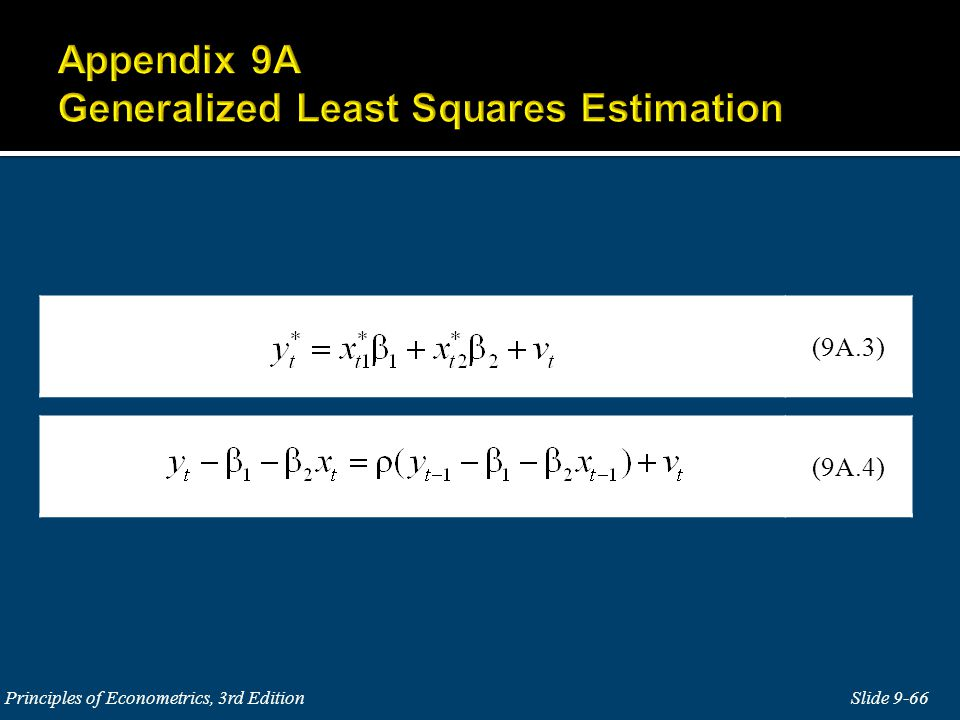 Appendix 9A Generalized Least Squares Estimation