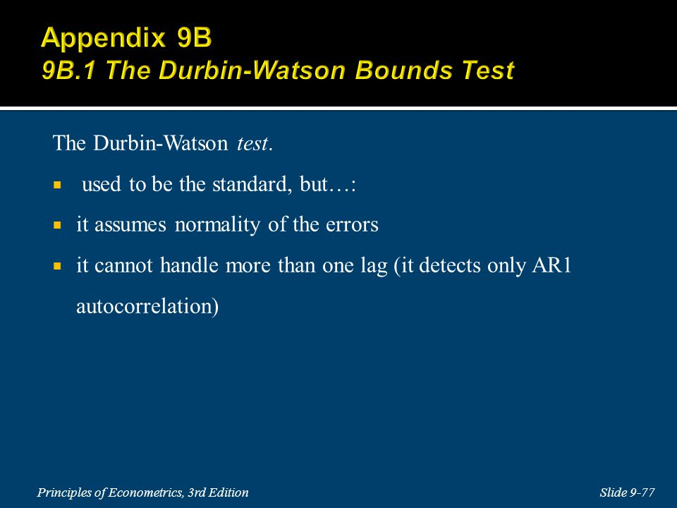 Appendix 9B 9B.1 The Durbin-Watson Bounds Test