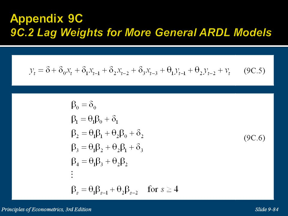 Appendix 9C 9C.2 Lag Weights for More General ARDL Models