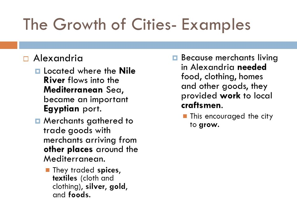 The Growth of Cities- Examples
