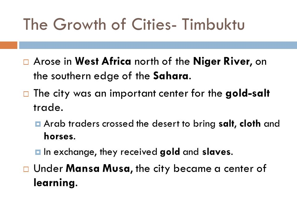 The Growth of Cities- Timbuktu
