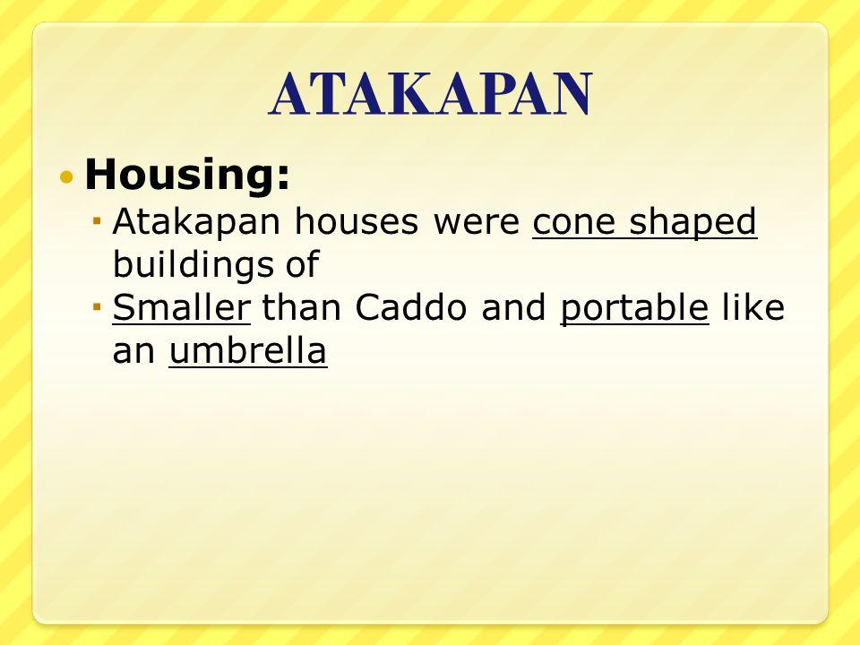ATAKAPAN Housing: Atakapan houses were cone shaped buildings of