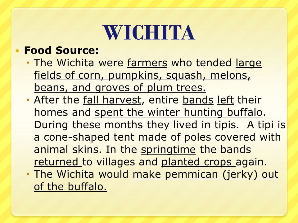 WICHITA Food Source: The Wichita were farmers who tended large fields of corn, pumpkins, squash, melons, beans, and groves of plum trees.