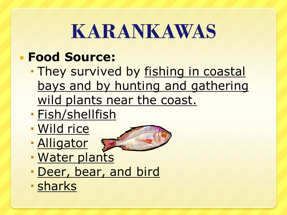KARANKAWAS Food Source: