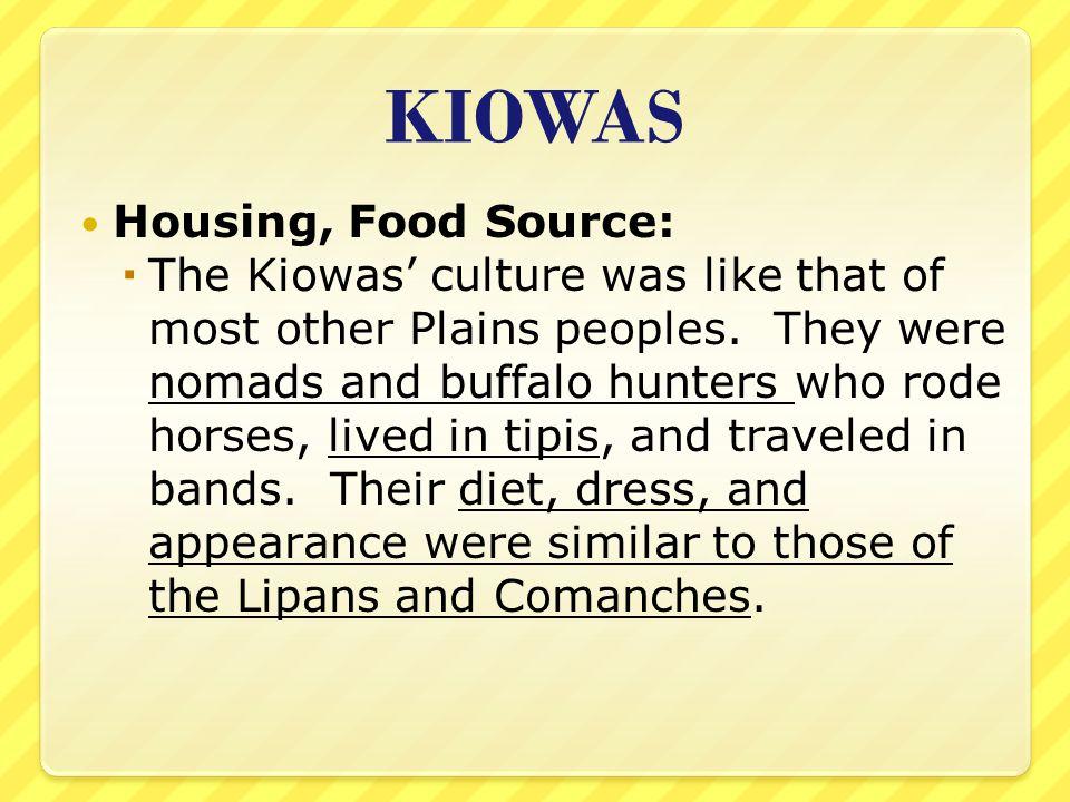 KIOWAS Housing, Food Source: