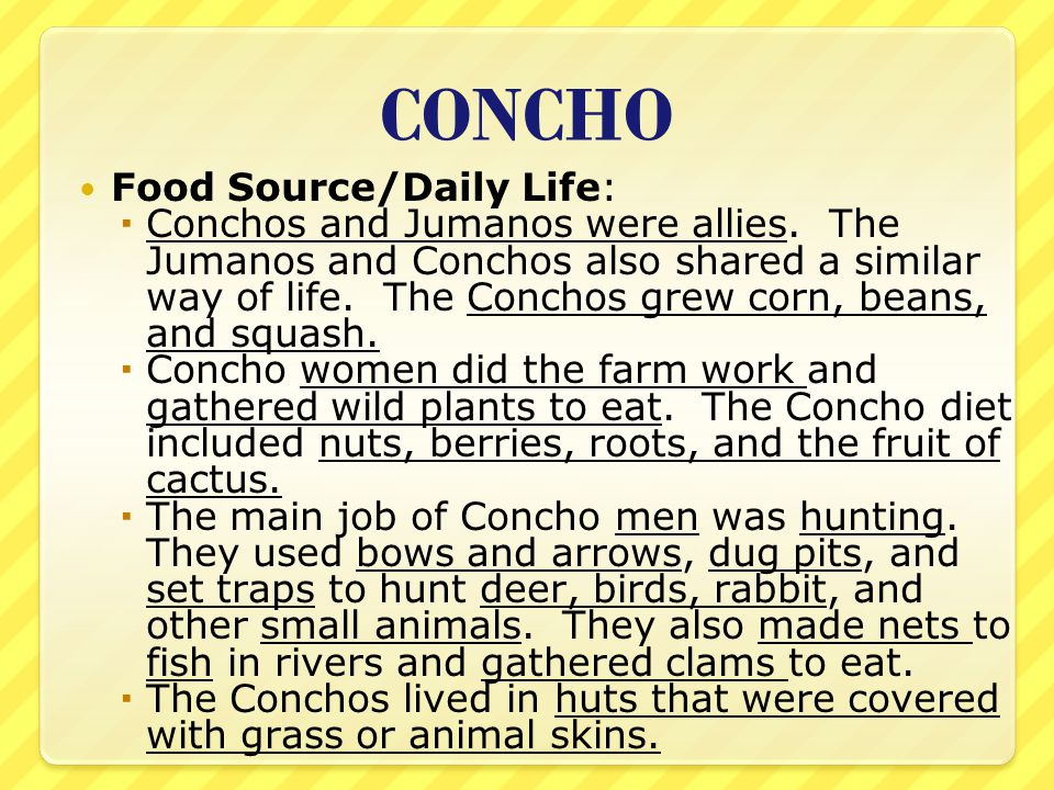 CONCHO Food Source/Daily Life: