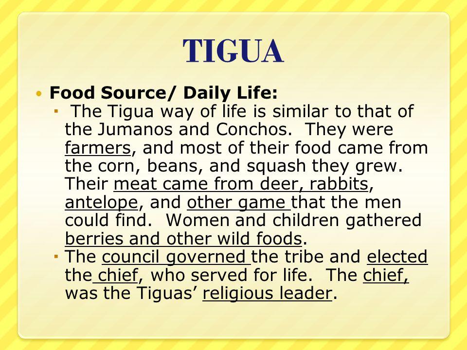 TIGUA Food Source/ Daily Life: