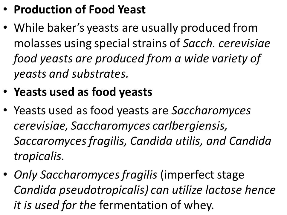 Production of Food Yeast