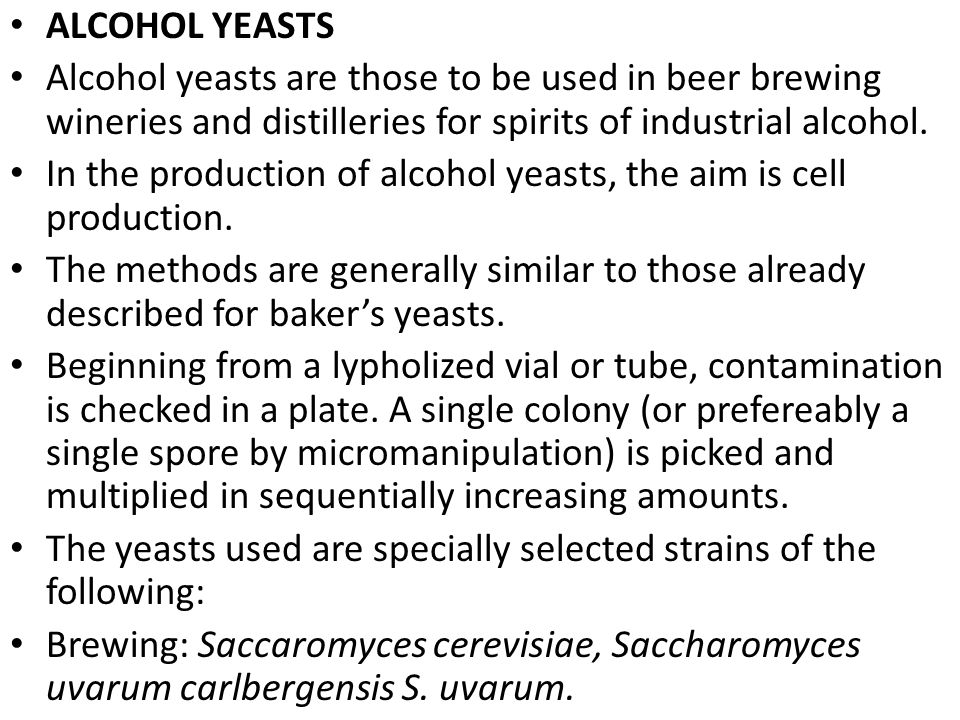 ALCOHOL YEASTS Alcohol yeasts are those to be used in beer brewing wineries and distilleries for spirits of industrial alcohol.
