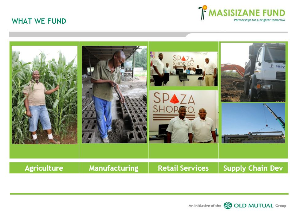 WHAT WE FUND Agriculture Manufacturing Retail Services Supply Chain Dev