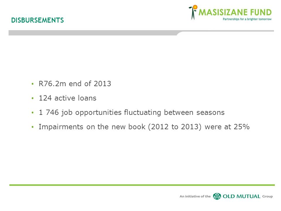 DISBURSEMENTS R76.2m end of 2013. 124 active loans. 1 746 job opportunities fluctuating between seasons.