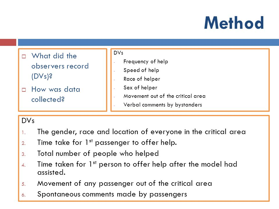 Method What did the observers record (DVs) How was data collected