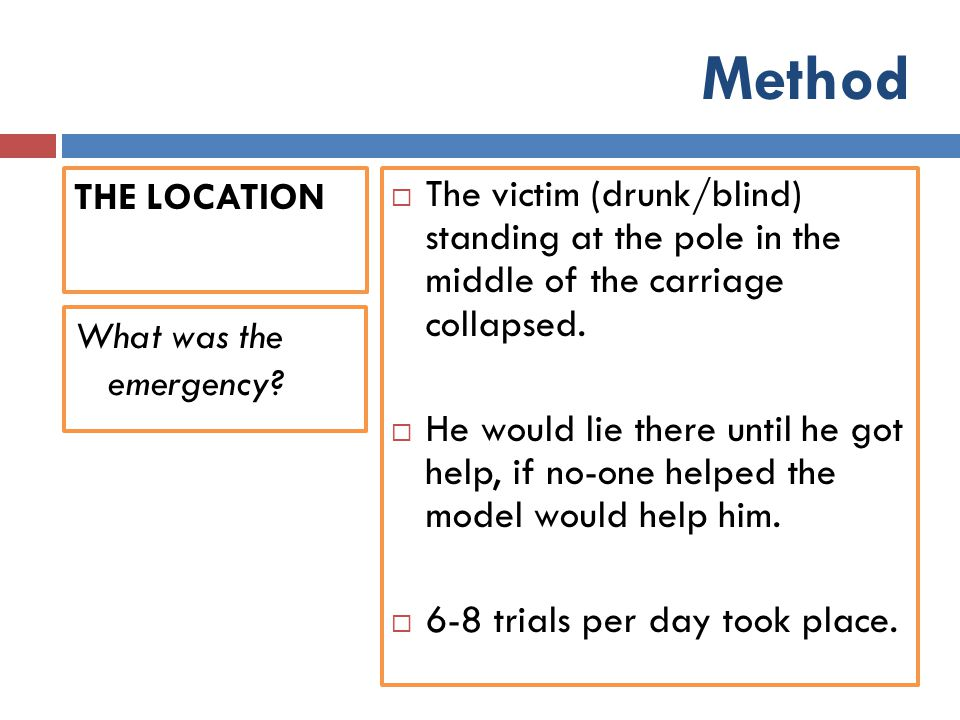 Method THE LOCATION. The victim (drunk/blind) standing at the pole in the middle of the carriage collapsed.