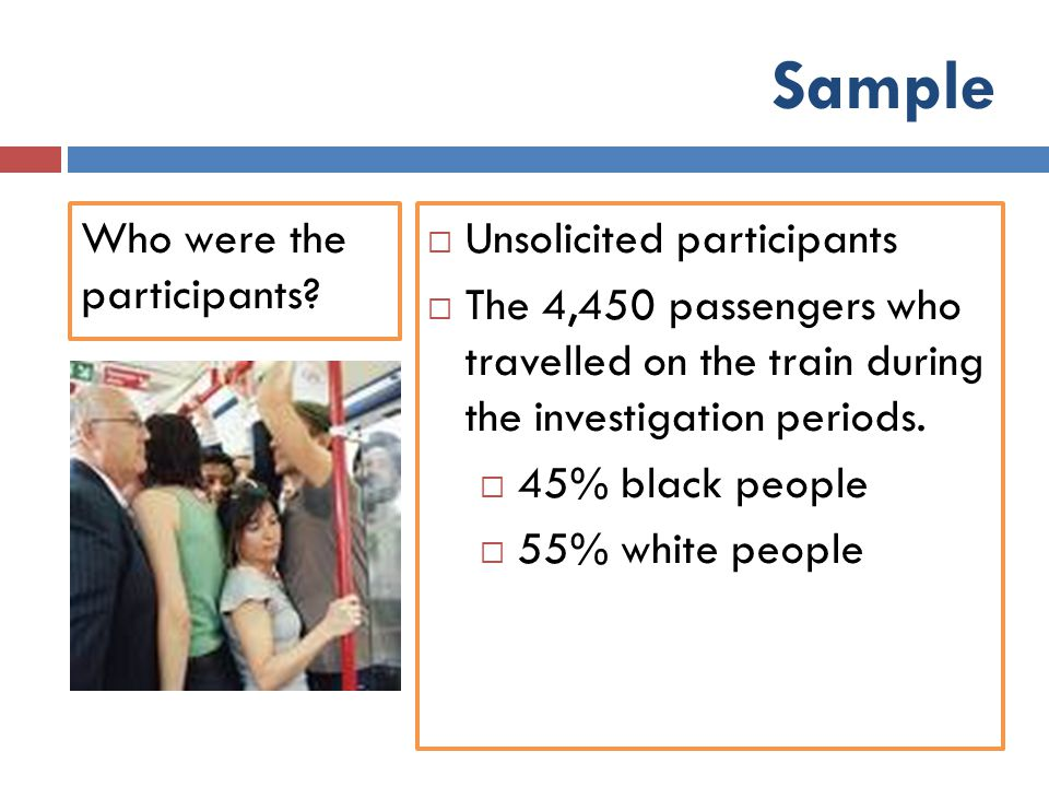 Sample Who were the participants Unsolicited participants