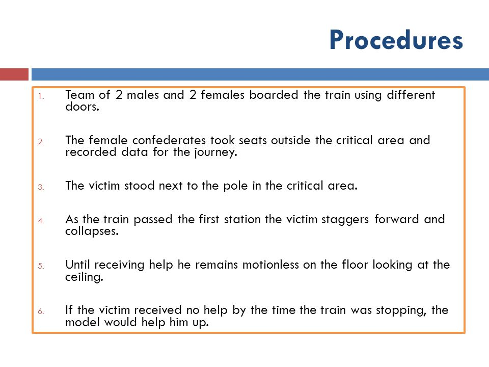 Procedures Team of 2 males and 2 females boarded the train using different doors.