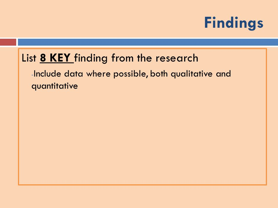 Findings List 8 KEY finding from the research