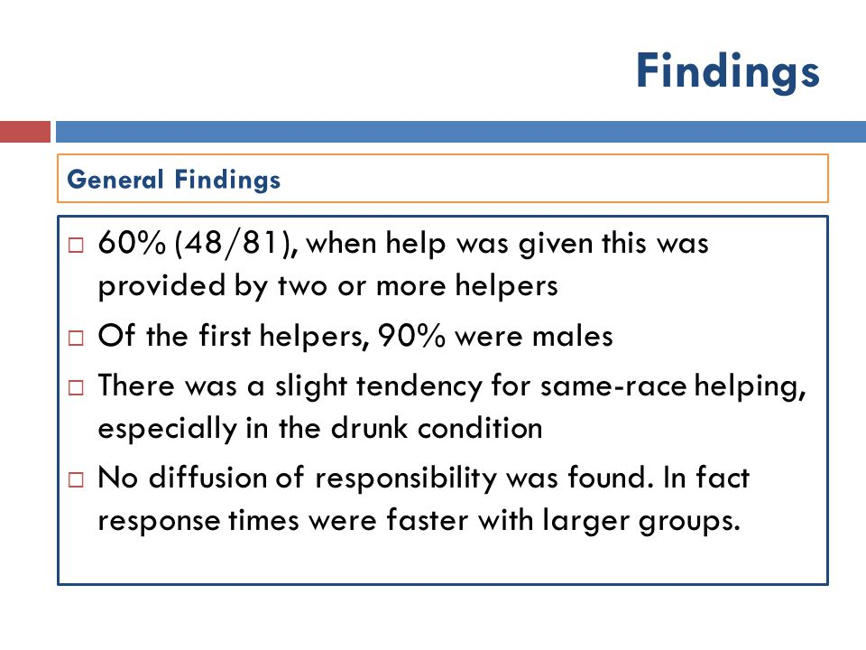 Findings General Findings. 60% (48/81), when help was given this was provided by two or more helpers.