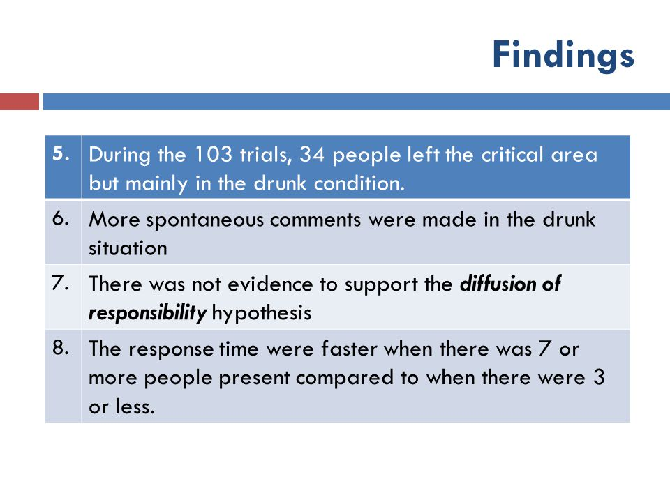 Findings 5. During the 103 trials, 34 people left the critical area but mainly in the drunk condition.