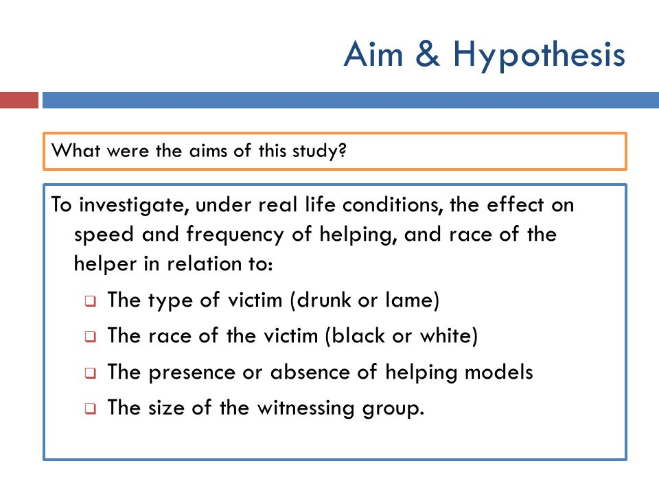 Aim & Hypothesis What were the aims of this study