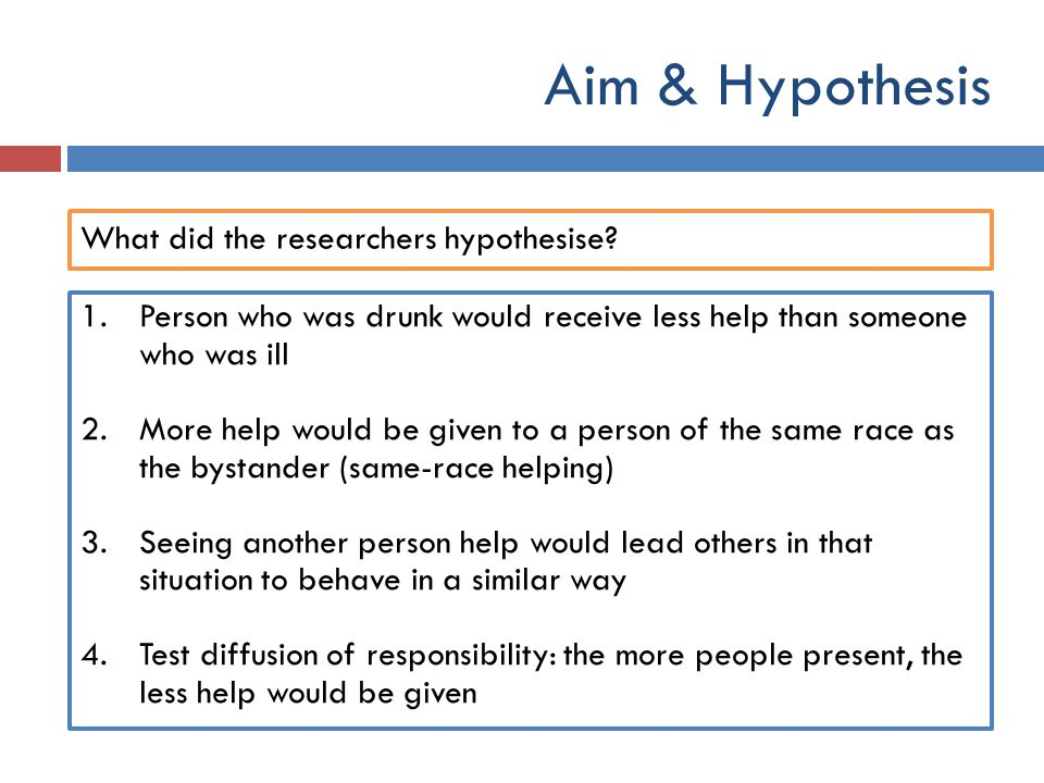 Aim & Hypothesis What did the researchers hypothesise