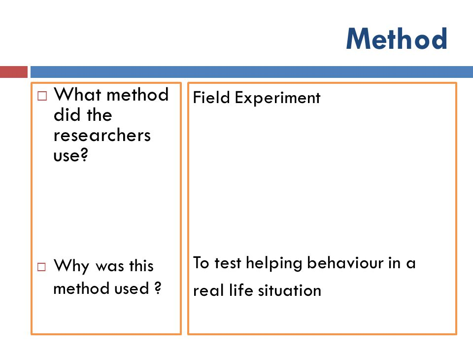 Method What method did the researchers use Field Experiment