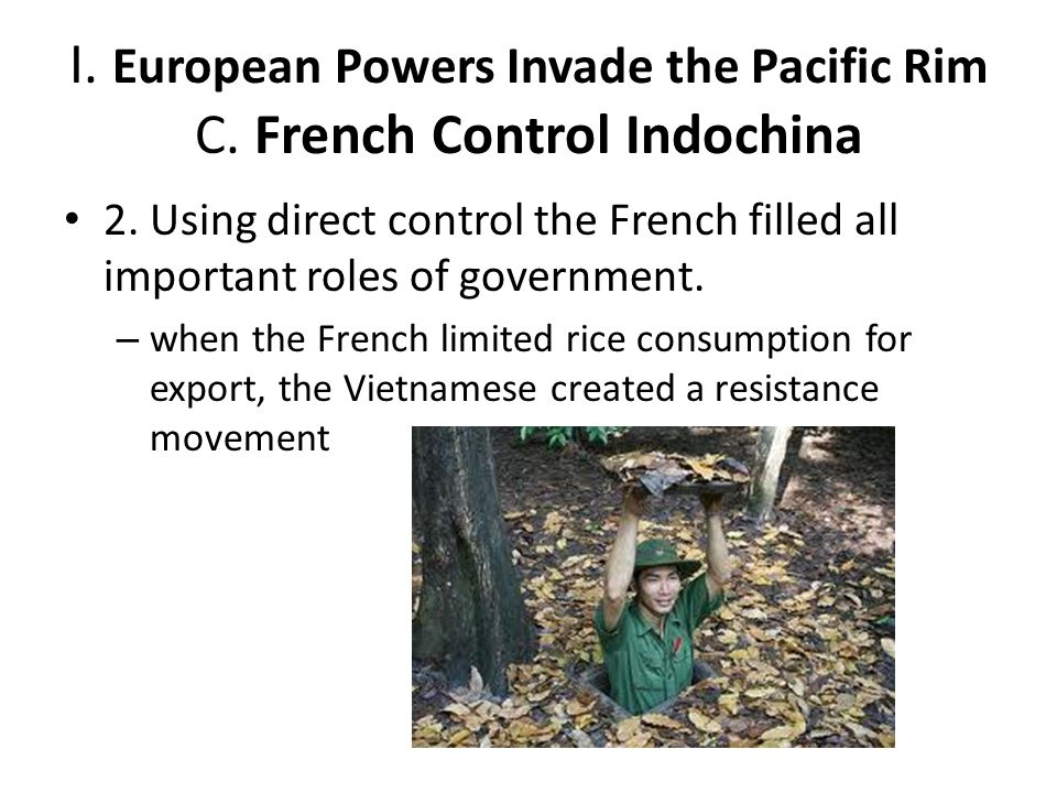 I. European Powers Invade the Pacific Rim C. French Control Indochina