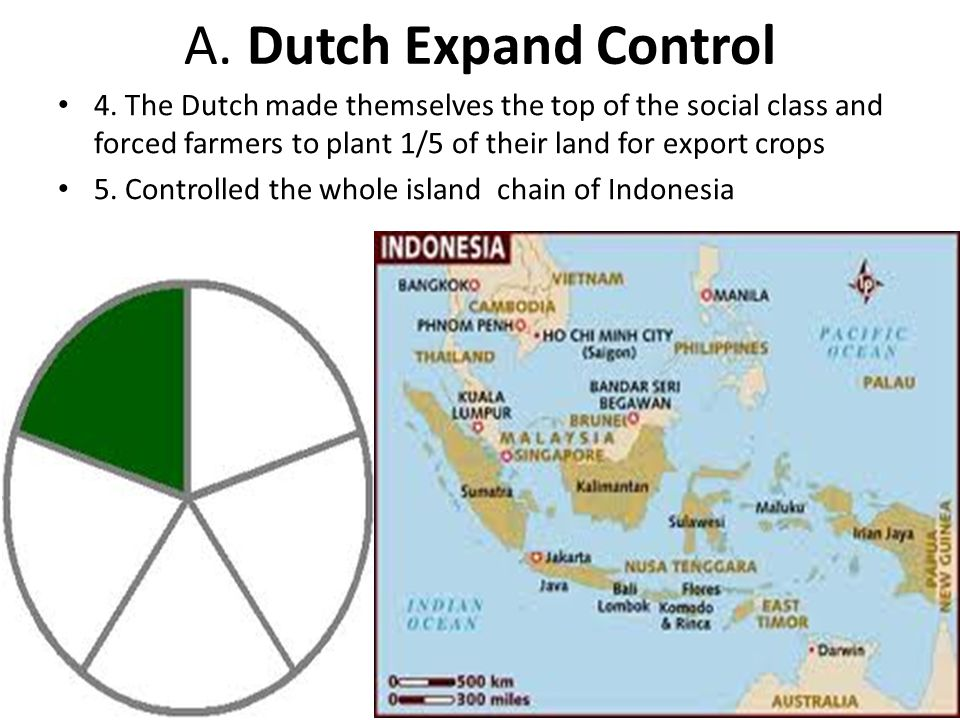 A. Dutch Expand Control 4. The Dutch made themselves the top of the social class and forced farmers to plant 1/5 of their land for export crops.