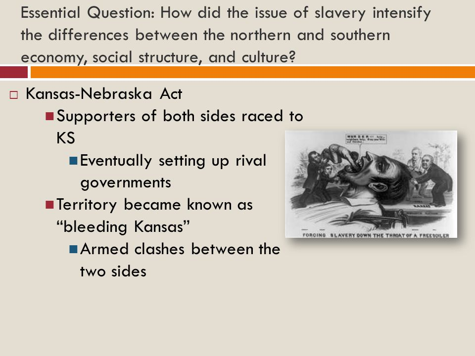 Essential Question: How did the issue of slavery intensify the differences between the northern and southern economy, social structure, and culture