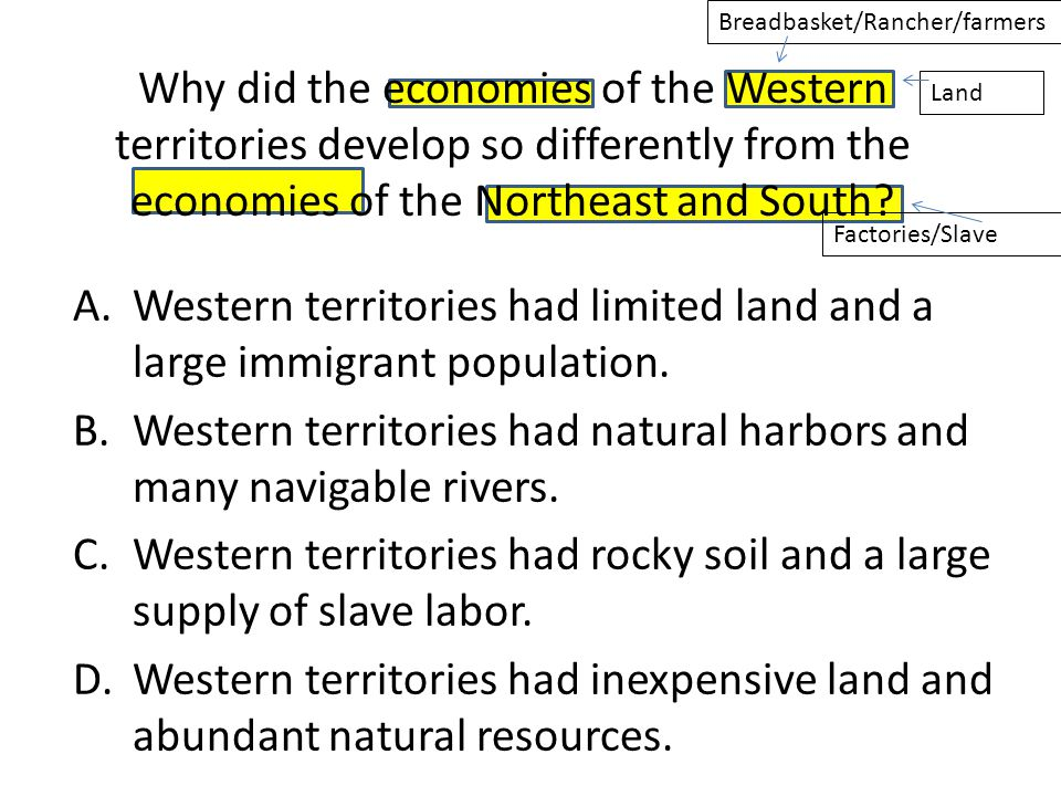 Western territories had limited land and a large immigrant population.
