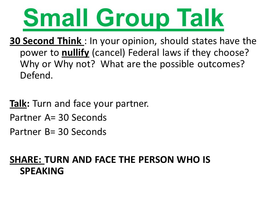 Small Group Talk