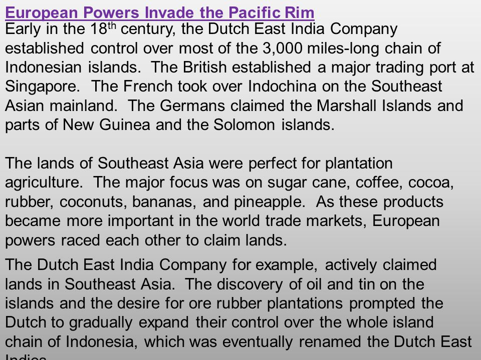European Powers Invade the Pacific Rim
