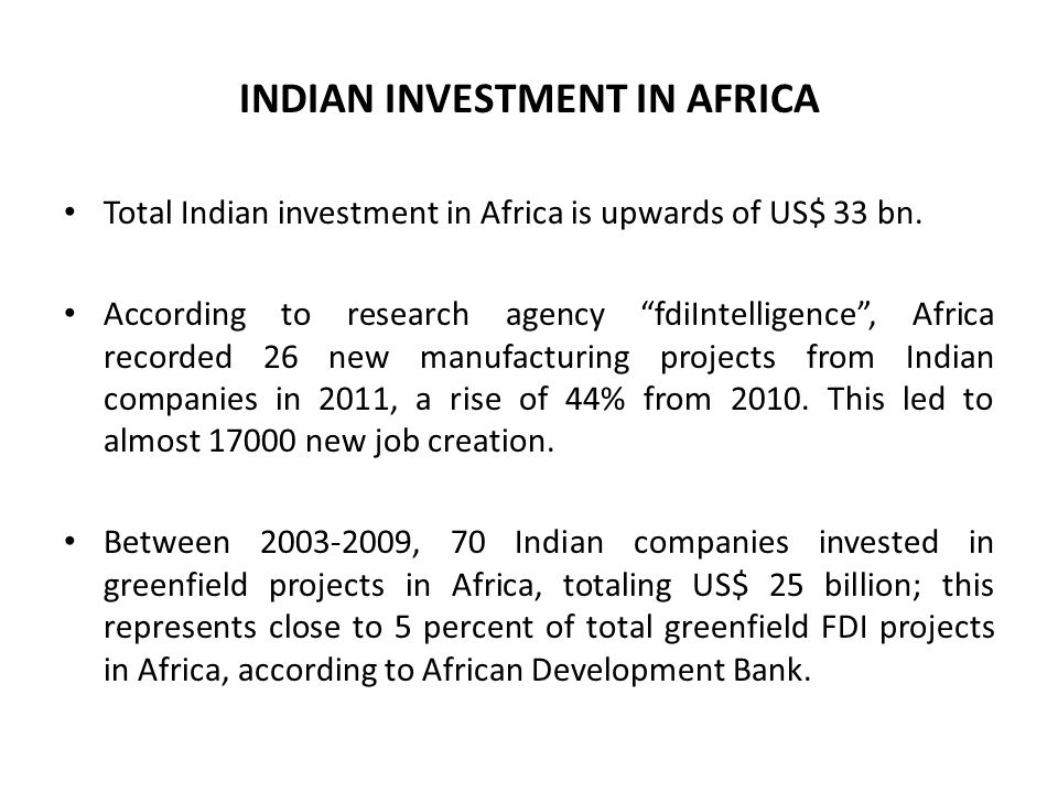 INDIAN INVESTMENT IN AFRICA