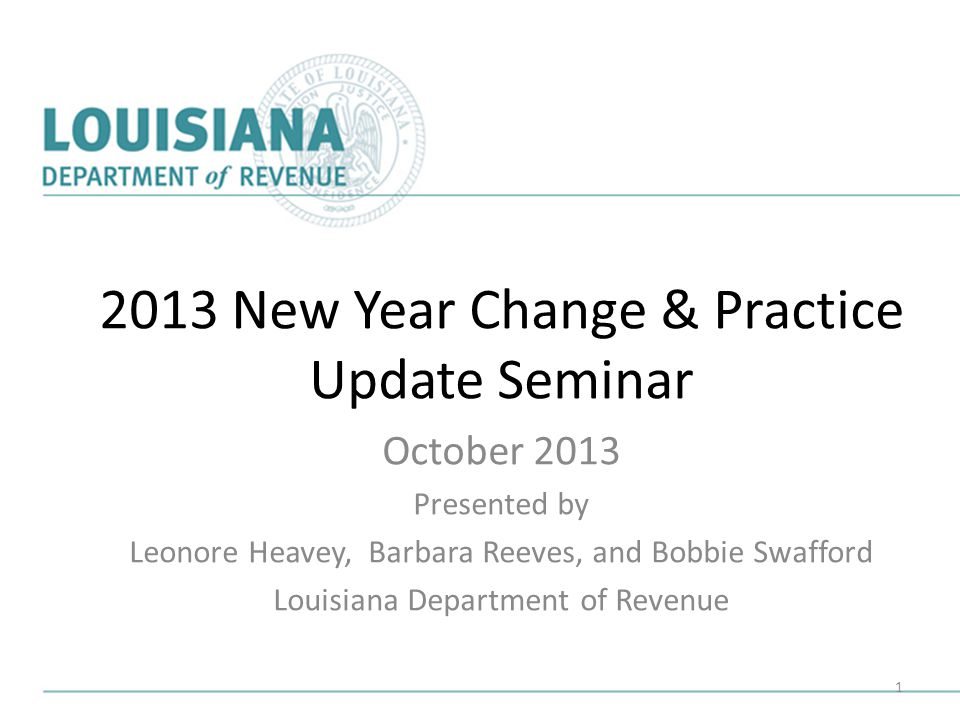 2013 New Year Change & Practice Update Seminar