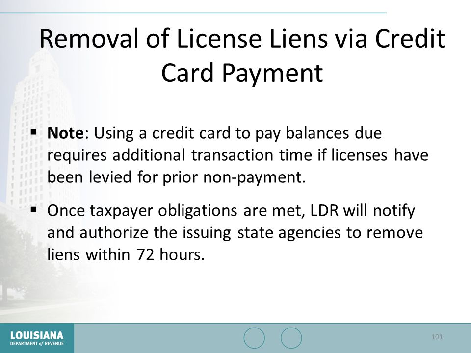 Removal of License Liens via Credit Card Payment