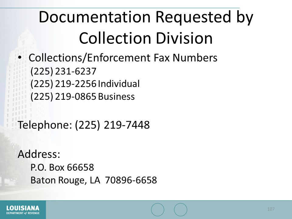 Documentation Requested by Collection Division