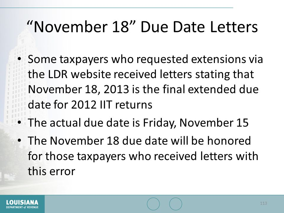 November 18 Due Date Letters