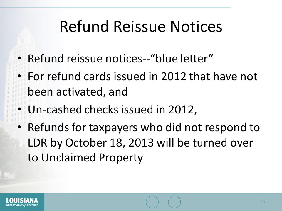 Refund Reissue Notices