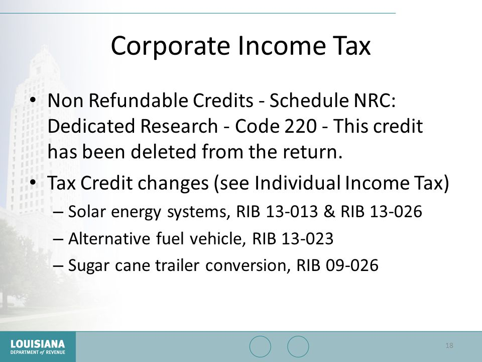 Corporate Income Tax Non Refundable Credits - Schedule NRC: Dedicated Research - Code 220 - This credit has been deleted from the return.