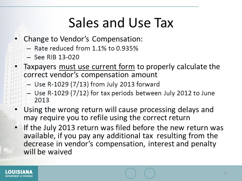 Sales and Use Tax Change to Vendor's Compensation: