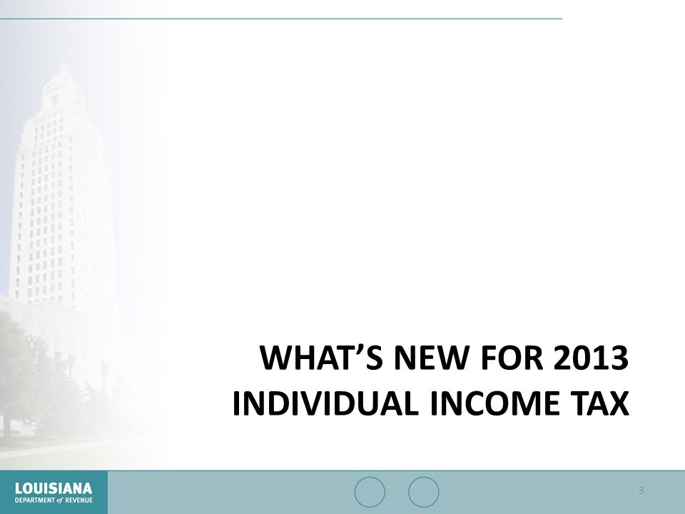 What's New for 2013 Individual Income Tax