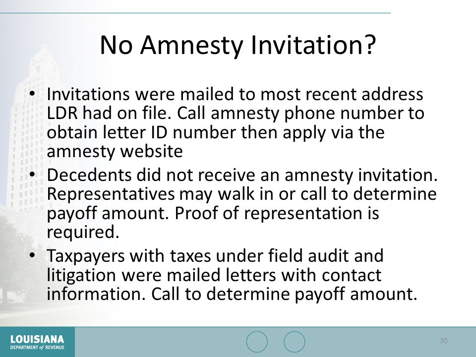 No Amnesty Invitation