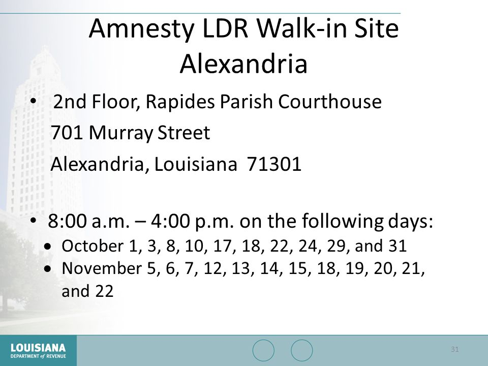 Amnesty LDR Walk-in Site Alexandria