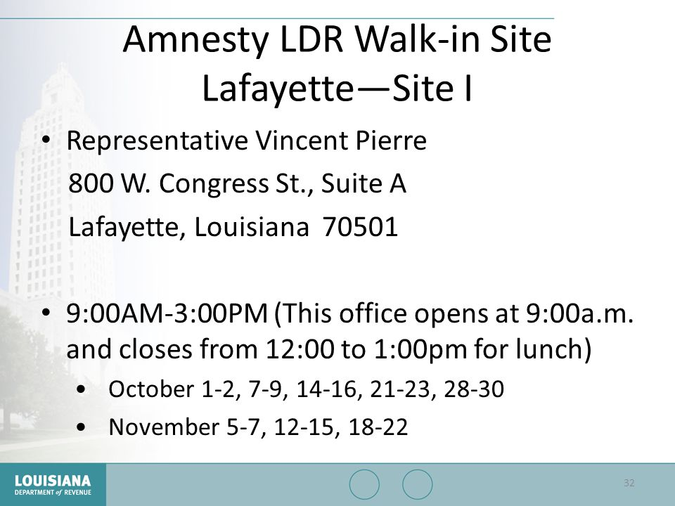 Amnesty LDR Walk-in Site Lafayette—Site I