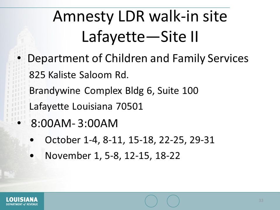 Amnesty LDR walk-in site Lafayette—Site II