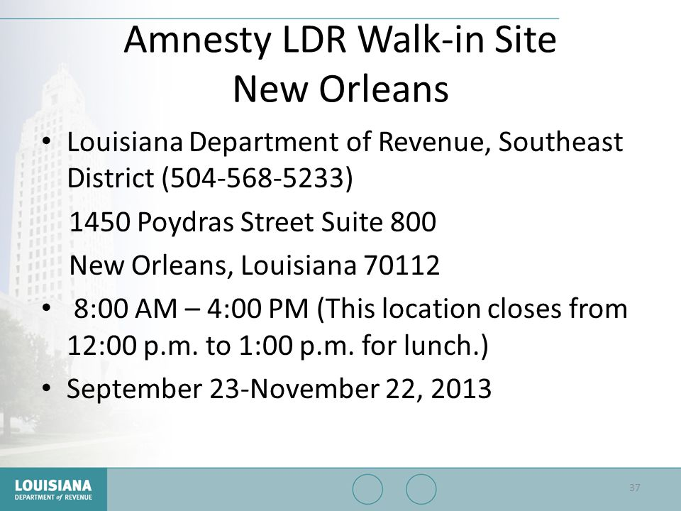 Amnesty LDR Walk-in Site New Orleans