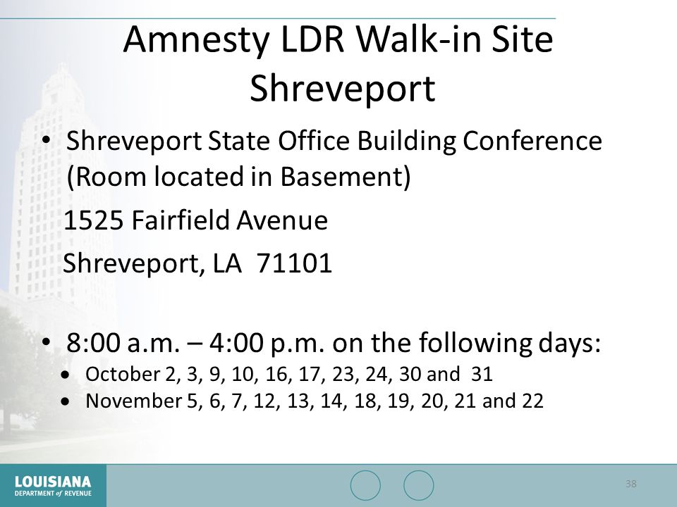 Amnesty LDR Walk-in Site Shreveport