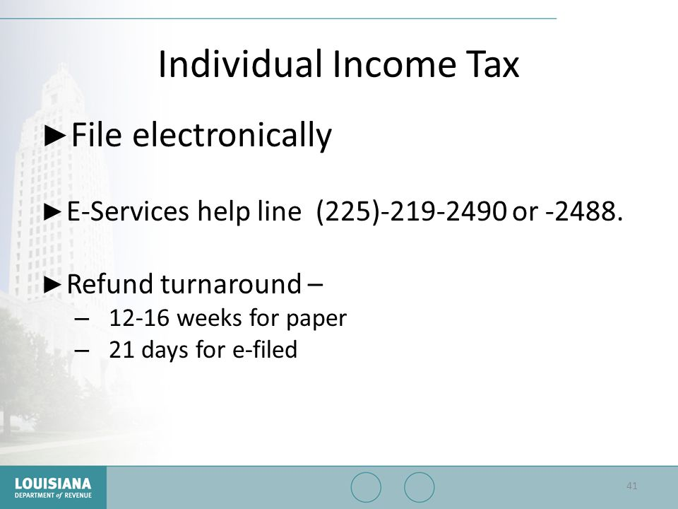 Individual Income Tax File electronically