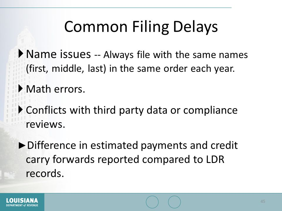 Common Filing Delays Name issues -- Always file with the same names (first, middle, last) in the same order each year.
