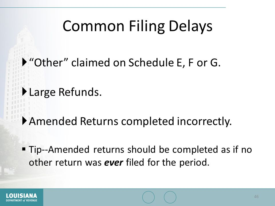 Common Filing Delays Other claimed on Schedule E, F or G.