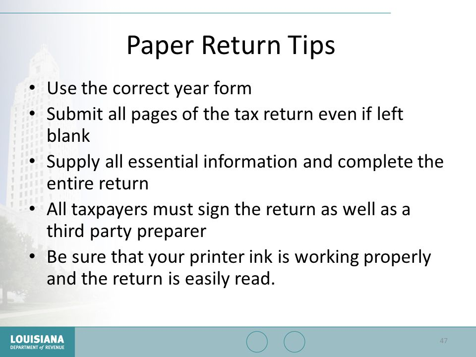 Paper Return Tips Use the correct year form